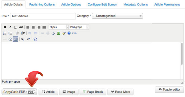 Upload protected PDF from the Joomla editor