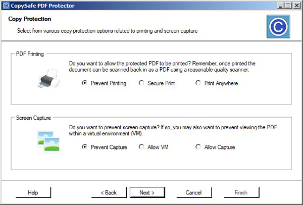 Select expiration and print control for PDF